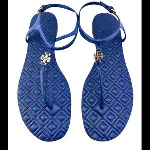 TORY BURCH  Marion Quilted Sandals in Hudson Blue